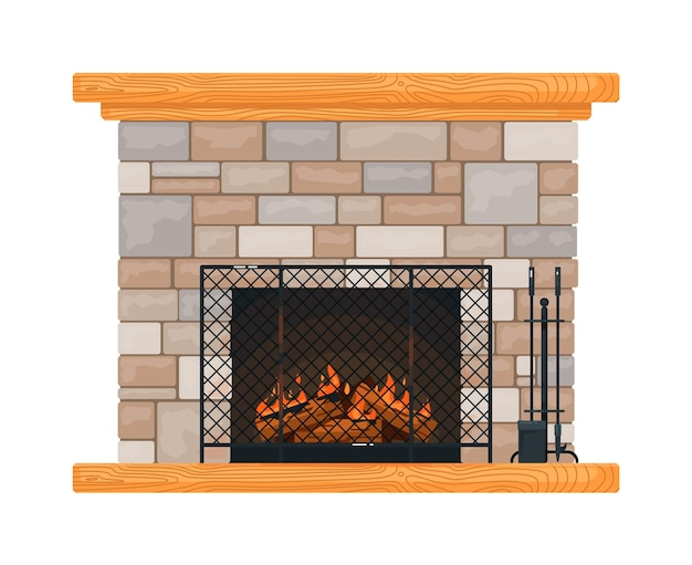 Brick fireplace with burning fire, fire-grate and accessory