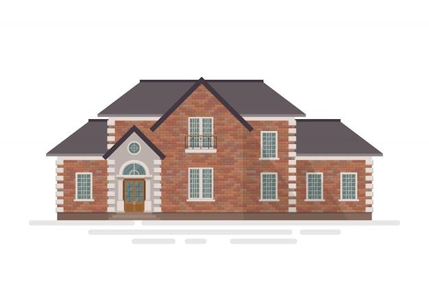 白で隔離されるれんが造りの家の建物のイラスト