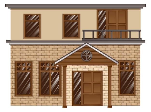 Кирпичный дом с балконом на втором этаже