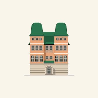 Brick house with towers Premium Vector