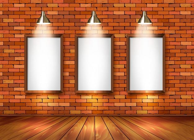 Brick show room with spotlights.
