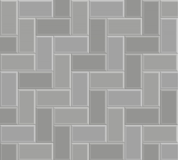 Brick stone pavement pattern texture background, vector gray floor walk