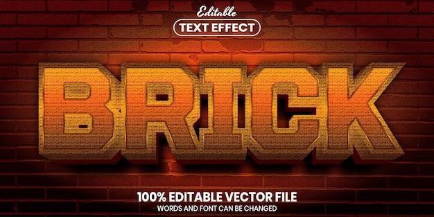 Brick text, font style editable text effect