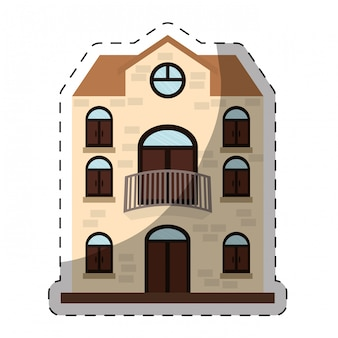 Brick three story house icon image