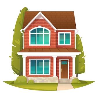 Кирпичный двухэтажный дом в английском стиле аренда или продажа недвижимости Premium векторы