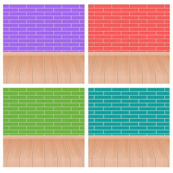 レンガの壁4色と木製の床。