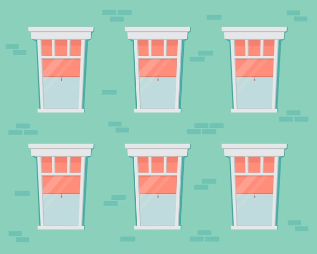 レンガの壁と白いフレームの窓。住宅のファサード。オープンとクローズのガラス窓とカーテンとブラインドの内側の家の正面の漫画イラスト