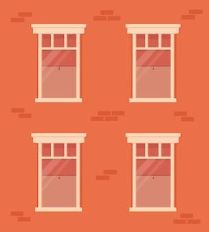 Кирпичная стена и окна с белой рамой. фасад жилого дома. дом с окнами с занавесками и жалюзи внутри