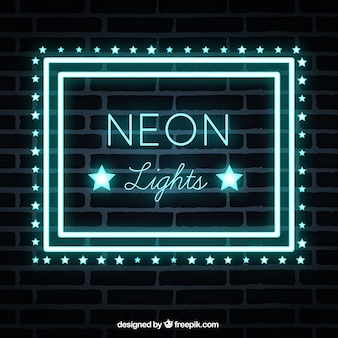 Brick wall background with neon lights sign