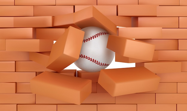 Brick wall destroying with baseball ball, sports