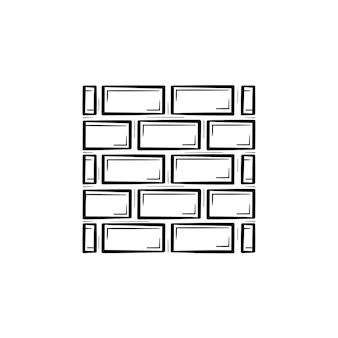 レンガの壁の手描きのアウトライン落書きアイコン。白い背景で隔離の印刷、ウェブ、モバイル、インフォグラフィックのレンガベクトルスケッチイラストから壁の構築。