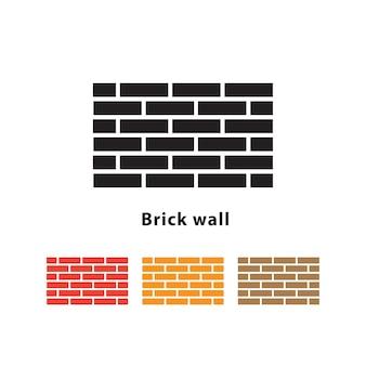 異なる色のセットと白い背景にレンガの壁のイラスト。