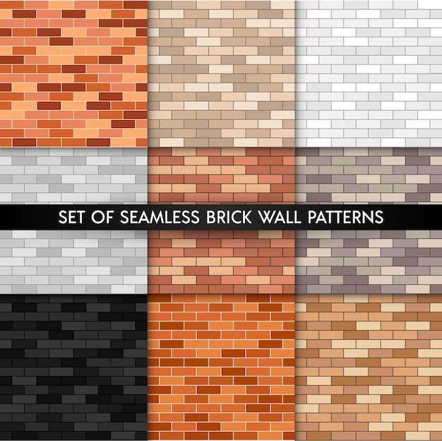 벽돌 벽 원활한 패턴 집합입니다. 평평한 벽 텍스처 컬렉션