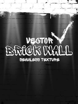 レンガの壁のシームレスなベクトルパターン。黒グランジレンガの壁の背景