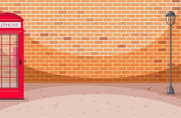 전화 상자와 벽돌 월스트리트 장면