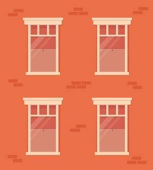 Brick wall and windows with white frame. residential building facade. house with windows with curtains and blind inside