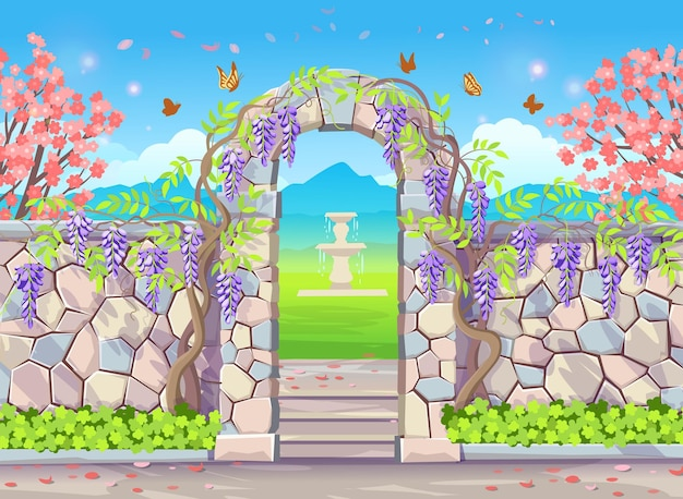 Brick wall with door arch with wisteria spring park with flowering trees fountain butterflies and wisteria