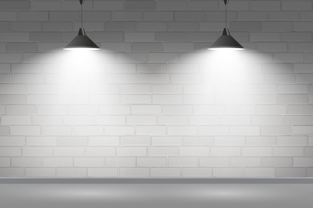 Brick wall with spot lights background concept