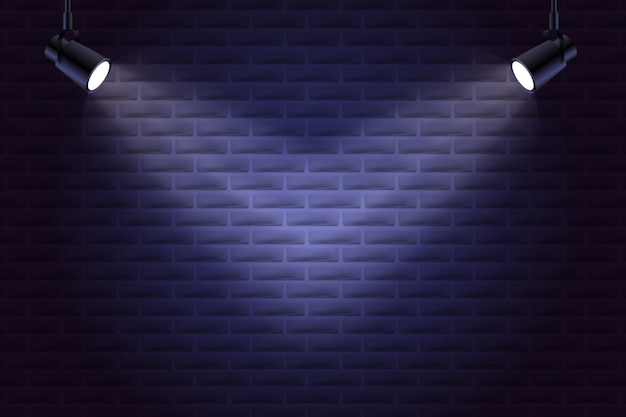 Brick wall with spot lights background style