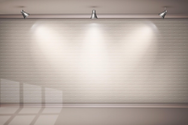 Brick wall with spot lights wallpaper theme