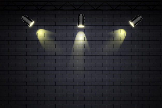 Brick wall with spot lights wallpaper