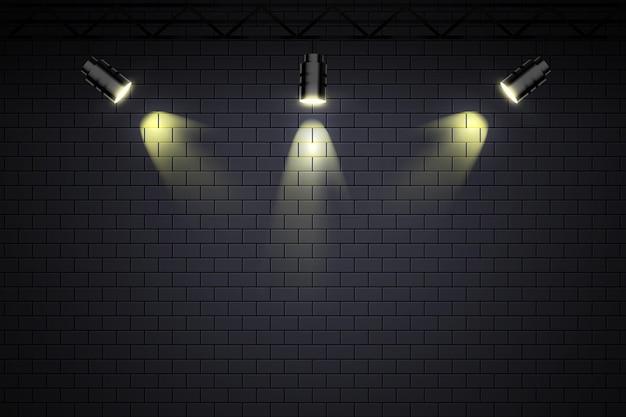 Кирпичная стена с прожекторами обои