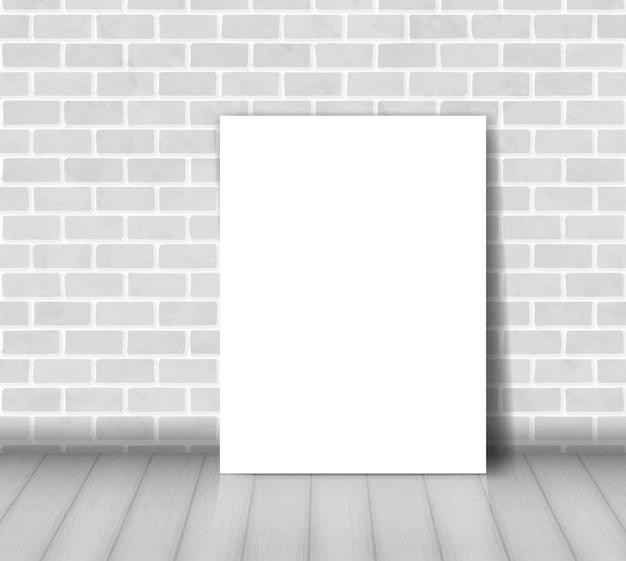 ホワイトペーパーシートでレンガの壁