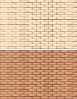 茶色の2色のレンガの壁