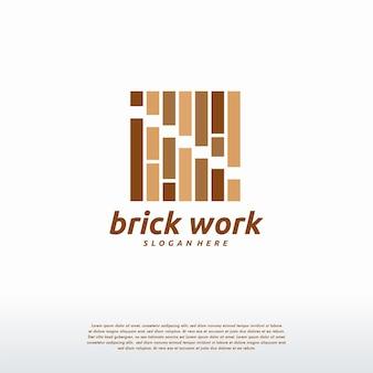 Вектор концепции дизайна логотипа кирпичной работы, шаблон логотипа строительства кирпича