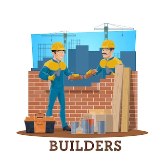 Bricklayer builders, construction industry workers