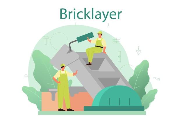 벽돌공 개념. 도구와 재료로 벽돌 벽을 건설하는 전문 빌더. 집을 짓는 과정.