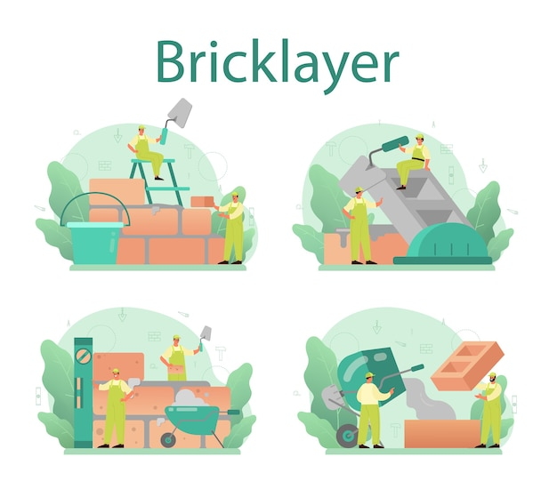 Bricklayer concept set. professional builder constructing a brick wall with tools and materials.