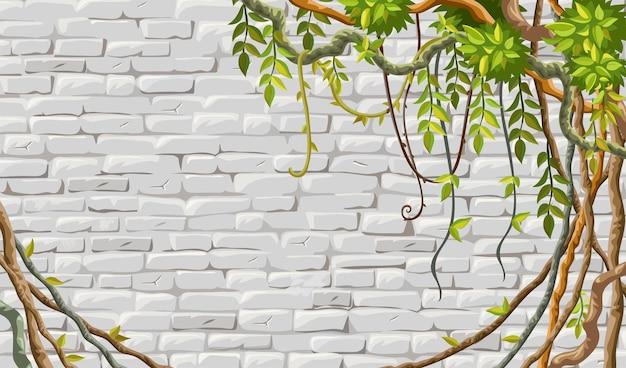 Кирпичная кладка стены ветки лиана плющ