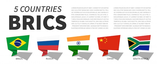 Brics . association of 5 countries . speech bubbles design