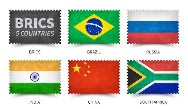 Брикс. ассоциация 5 стран. форма штампа с текстурой бумаги гранж. белый изолированный фон. вектор элемента.