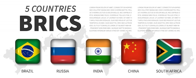 Brics and membership flag. round angle square shiny button