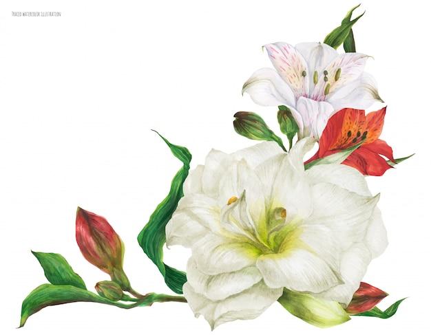 ユリの花とブライダルコサージュブーケ
