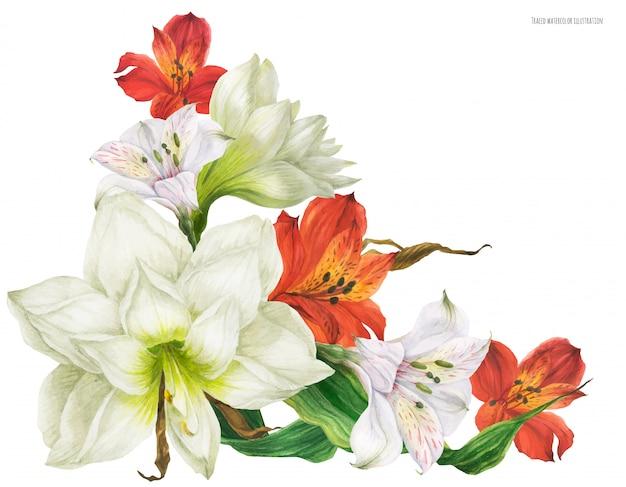 赤と白のユリの花とブライダルコサージュブーケ