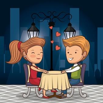 밤에 거리에서 저녁을 먹고 신부의 부부