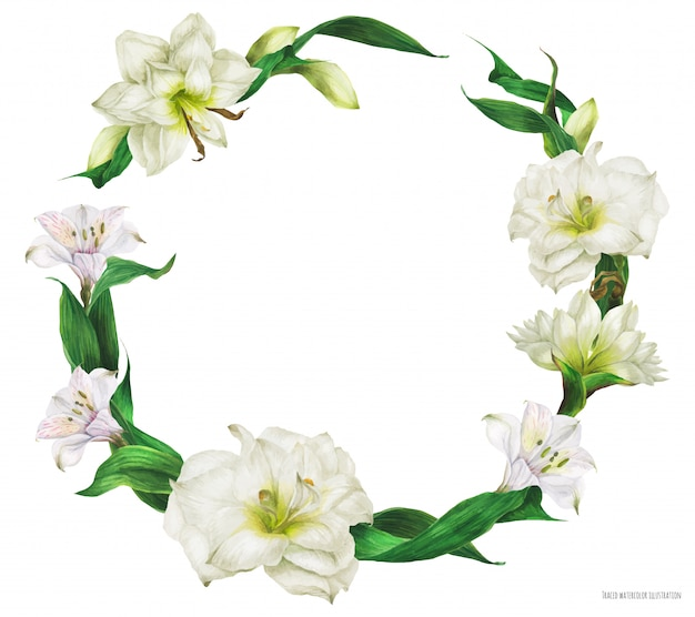 Bridal round shape wreath with white flowers
