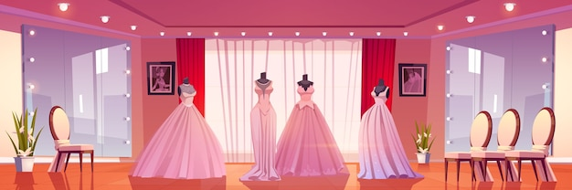 Bridal shop interior with wedding dresses on mannequins and large mirrors with lighting.