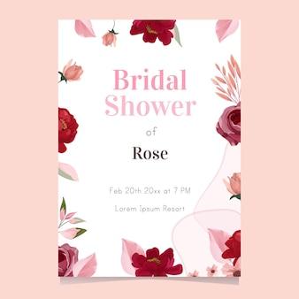 예쁜 꽃과 신부 샤워 카드 디자인