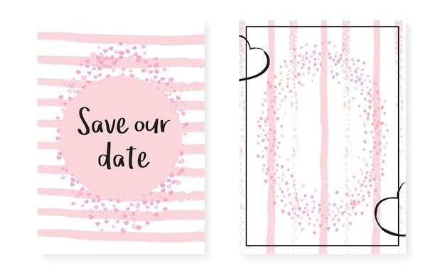 Открытка на свадебный душ с точками и пайетками. свадебные приглашения с розовым блеском конфетти. фон вертикальные полосы. нежная открытка на свадебный душ для вечеринки, мероприятия, сохранить флаер даты.