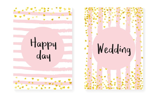 Bridal shower card with dots and sequins. wedding invitation set with gold glitter confetti. vertical stripes background. fashion bridal shower card for party, event, save the date flyer.