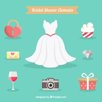 Bridal shower elements in flat design