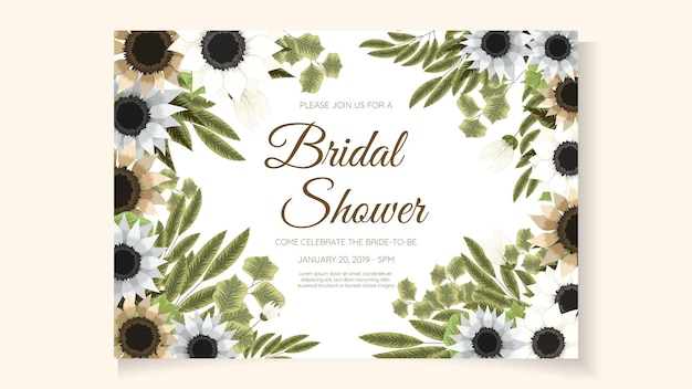 花の抽象的な花のブライダルシャワーの招待カードテンプレート