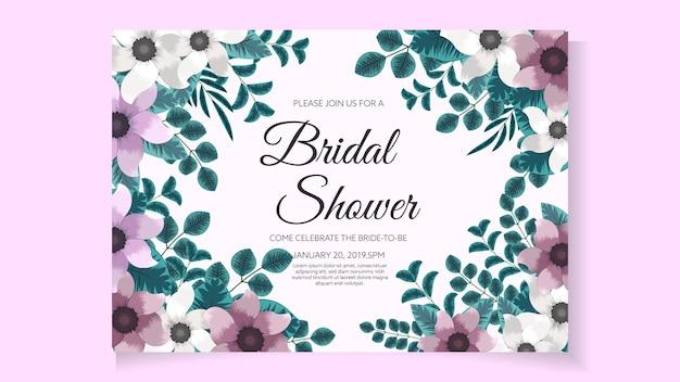ブライダルシャワーの招待カードテンプレートレイアウト抽象的な花柄のロマンチックでエレガントな花