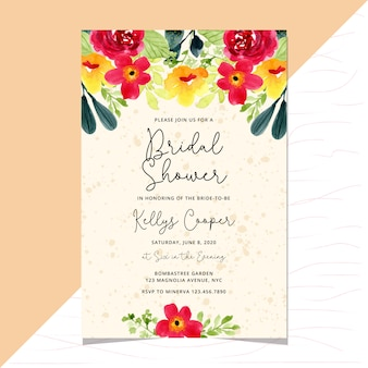 Bridal shower invitation card template with romantic flower watercolor