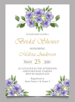 Bridal shower invitation card and wedding