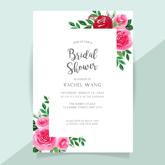 Bridal shower invitation card with flower watercolor border